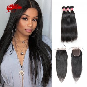 100 percent remy hair 3 bundles straight hair with 4x4 closure