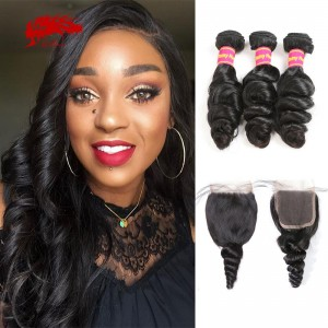 hair 3pcs loose wave with free part lace closure remy hair bundles with closure
