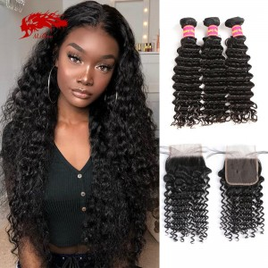 hair 100 percent remy hair 3 pieces deep wave bundles with 4x4 closure