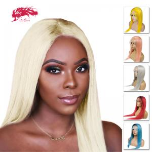 brazilian colorful lace front wigs human remy straight hair pre plucked