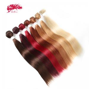3 bundles of brazilian hair colored remy straight hair weave double drawn